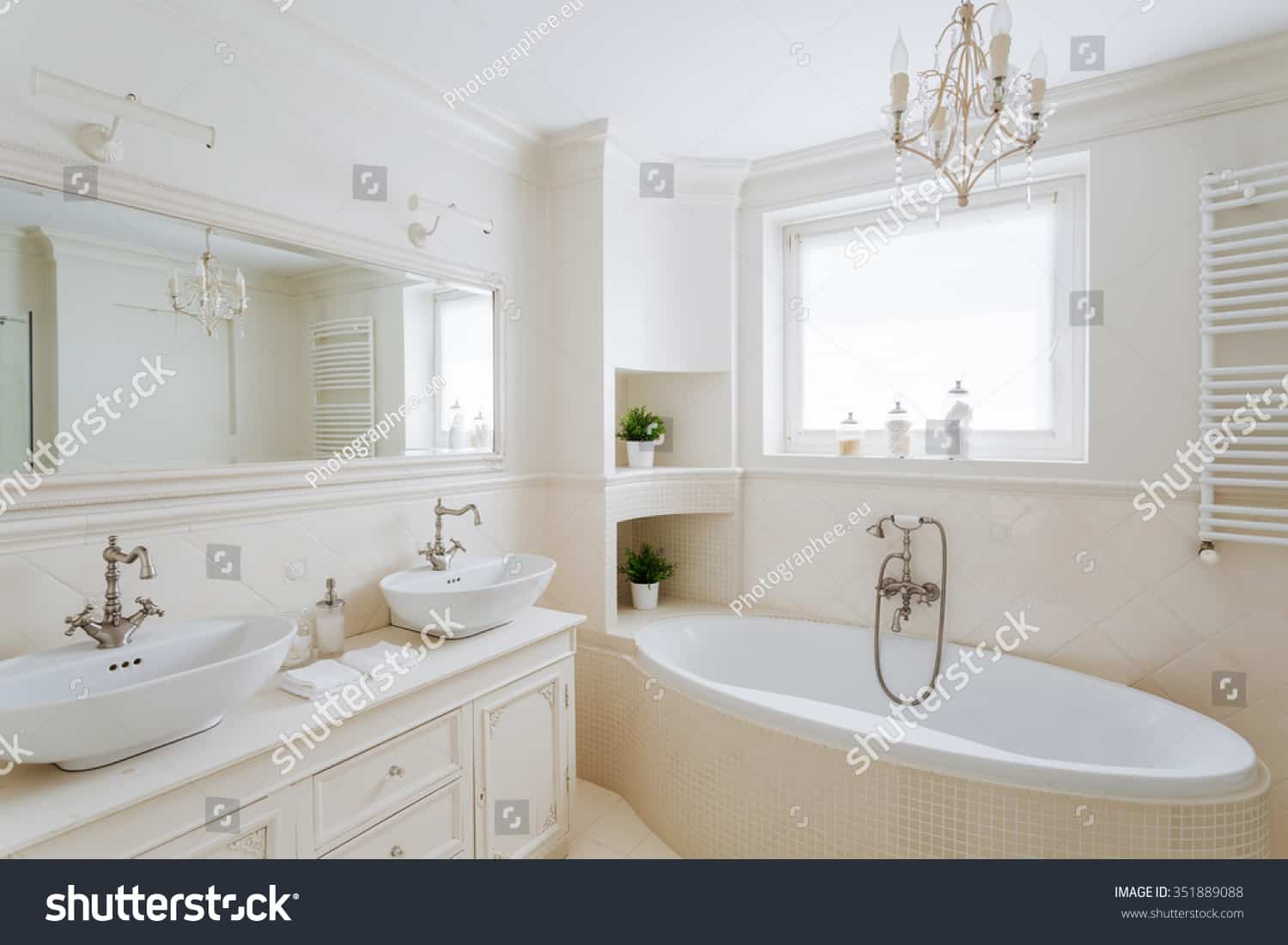 stock photo horizontal picture of a showy bathroom designed in creamy colors 351889088 1