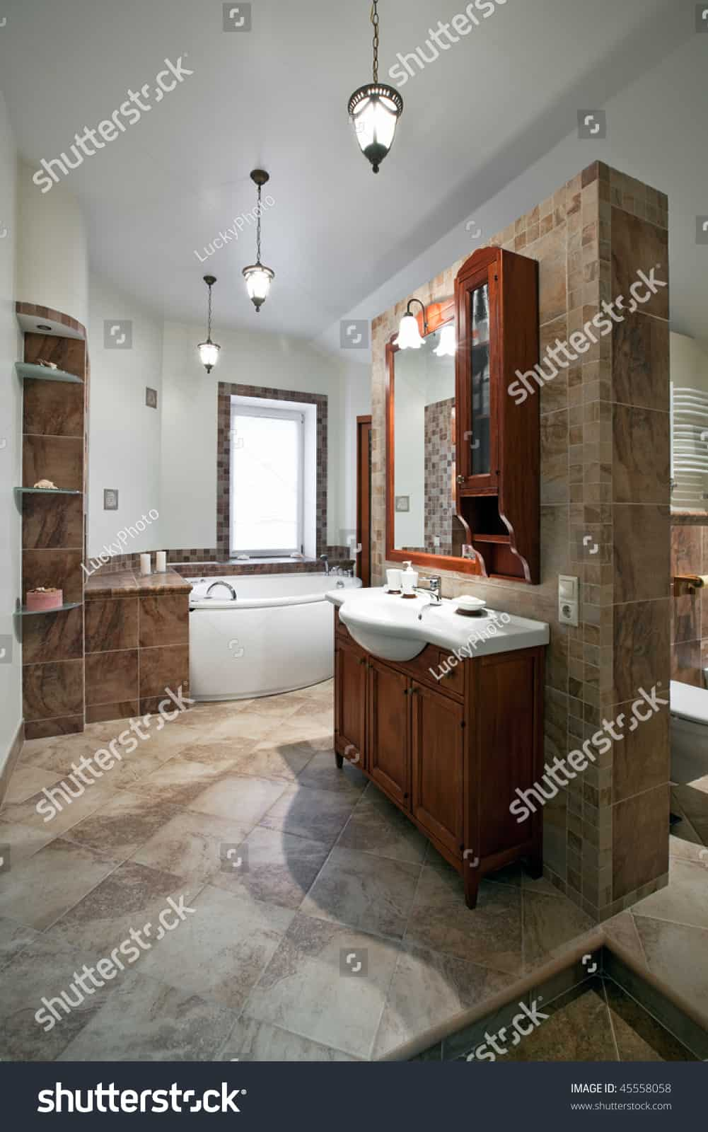 stock photo interior of the luxury bathroom with red wood furniture and window 45558058