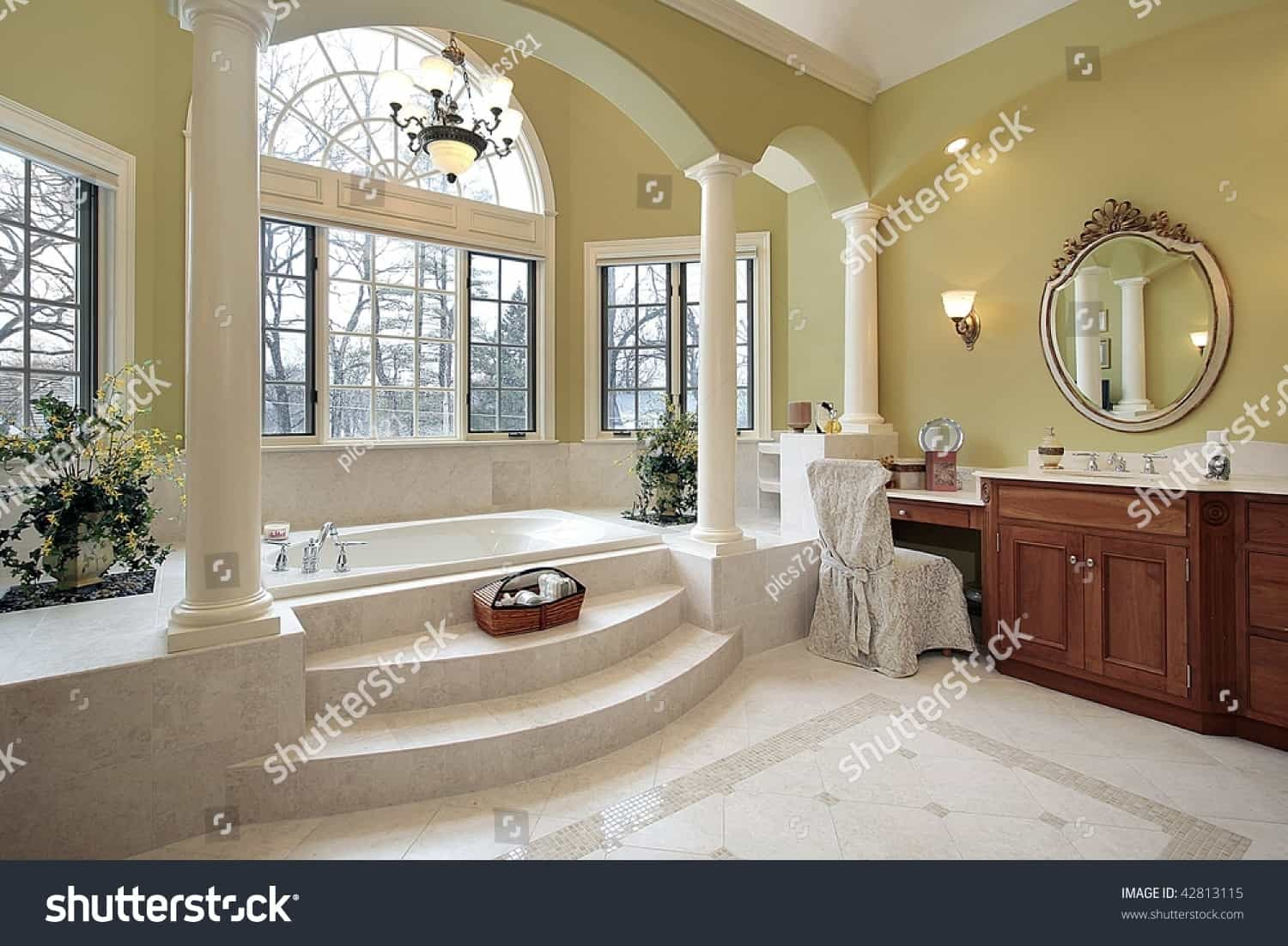 stock photo master bath with wall of windows 42813115
