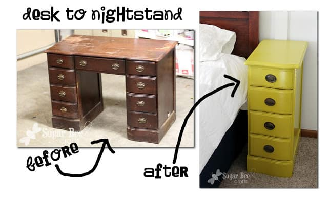 This project utilizes old pieces of furniture to transform them into new pieces with different uses. You can breathe new life into old or damaged items by transforming them into newly functional pieces. This particular project transforms an old and damaged desk into a fresh and fun night stand.