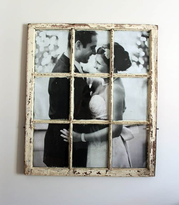 This rustic and vintage inspired project can change an old window into a classic and interesting picture frame with a shabby chic design quality. This is a great way to fit your photos into your design with a stylish flourish.