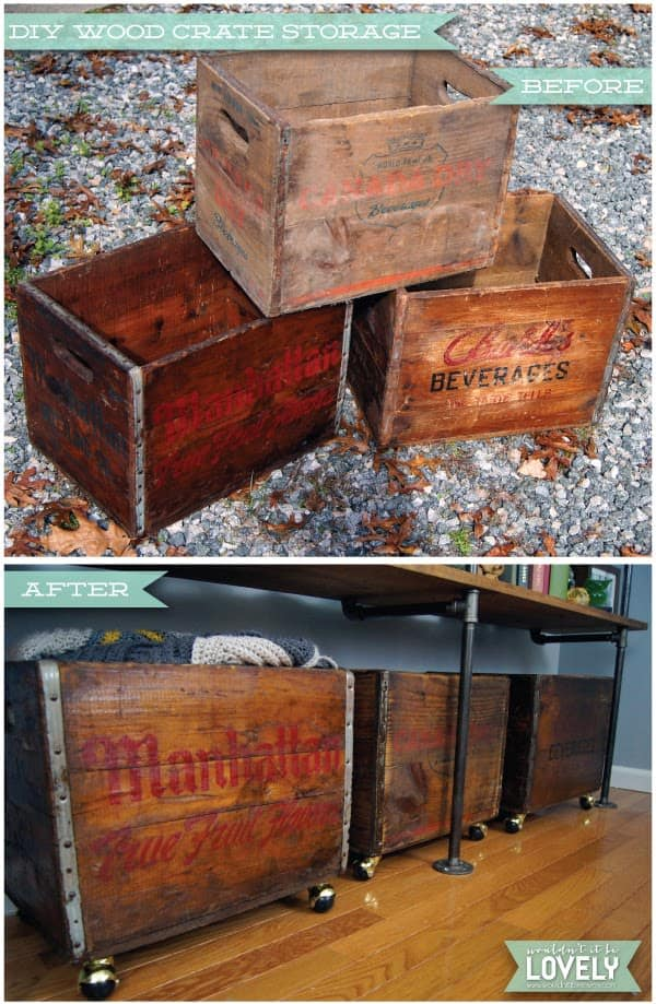 Here is an amazing storage space solution with a vintage and rustic charm. By transforming old crates into rolling boxes, you will have a way to organize your things in easily storable and manageable compartments that tuck away with ease.