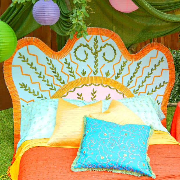 This colorful headboard is a splashy and interesting piece for a bedroom. It can really make an impact on your room and set the stage for a bold and colorful design.