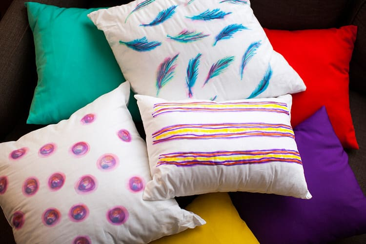 With a few easily found, simple items you can make throw pillows that look like brilliantly painted watercolor pieces. You can customize and personalize these pillows; the only limit to your design is your imagination.