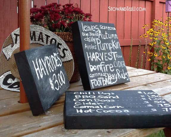 With some chalkboard paint you can transform your used boxes into awesome boards that can function as decorative signs. They can be hung on a wall or placed nearly anywhere. They can even be fun for children to draw on.