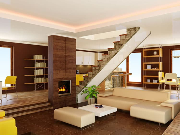 Living Rooms With Stairs 10